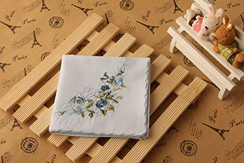 La Closure Vintage Floral Cotton Embroidered Ladies Handkerchiefs Pack 3