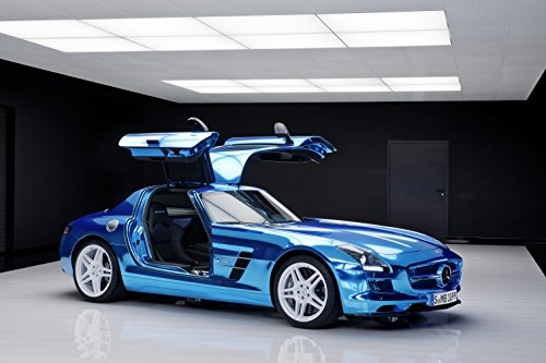 """Mercedes-Benz Sls Amg Electric Drive Concept (2012) Car Art Poster Print On 10 Mil Archival Satin Blue Front Side Open Wing Static View 11""""X17"""""""