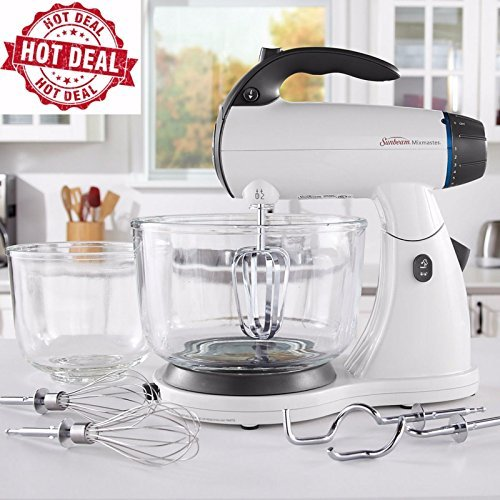 Sunbeam White 12 Variable Speed 350 Watt Mixmaster Stand Mixer With Glass Bowl (Sunbeam Mixmaster compare prices)
