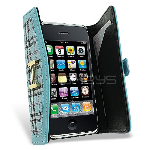 Femeto Sky Blue Ladies Fashion Purse Case for Apple iPhone 3G 3GS with Mirror Screen Protector