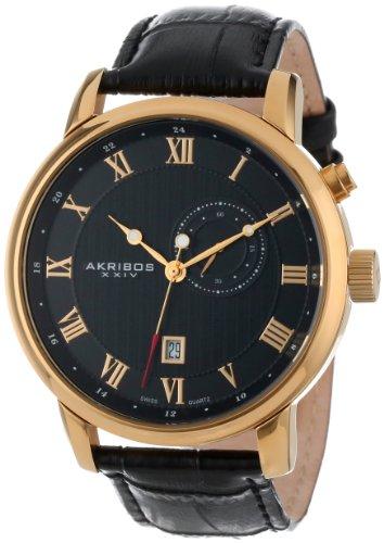 Akribos Xxiv Men'S Ak595Yg Swiss Leather Strap Date Watch