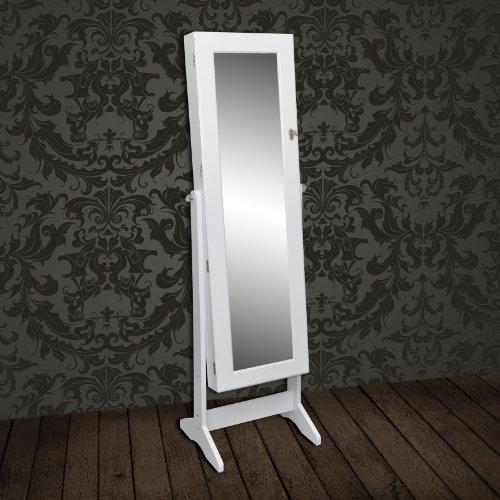 Miroir sur pied armoire bijoux et accessoires blanche for Miroir a coller sur armoire