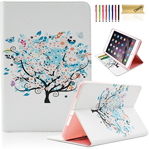 iPad Mini 4 Case,Dteck(TM) Cartoon Cute Pattern [Anti-Scratch] Folio PU Leather Case with [Card Slots] Smart Stand Full Body Protective Case for Apple iPad Mini 4 (01-Blooming Flowers) (Ipad Mini Smart Case Leather compare prices)