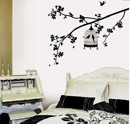 Birdcage Hanging On Tree Branch Wall Decal Removable Black Tree Home Bedroom Wall Art Sticker Peel&Stick Bird Cage Decal Mural front-224718