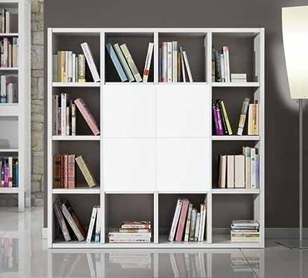Libreria parete soggiorno attrezzata bianco frassinato 16 elementi 4 antine