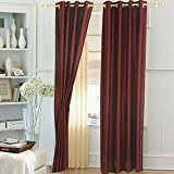 Window Curtain Polyester (1 curtain), 4 x 5 ft, Dark Red