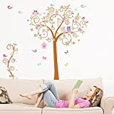 ElecMotive Super Large 5.9'x5.6' Colorful Owl Big Bending Tree Wall Stickers Removable Wall Decal Sticker, Super for Girls and Boys Nursery Baby Room Children's Bedroom