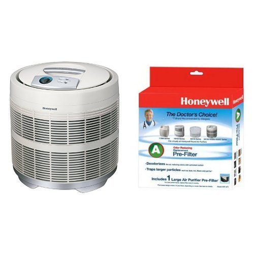 Honeywell 50250-S True HEPA Air Purifier, 390 sq ft and Honeywell Filter A HRF-AP1 Universal Carbon Air Purifier Replacement Pre-Filter Bundle (Filter For Honeywell 50250 compare prices)