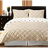 Full / Queen Bloomingdale 3pc Duvet Cover Set Ivory & Linen