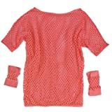 SWT Neon Pink Ladies Fancy Dress Mesh Net Vest Lingerie Top Sexy Costume