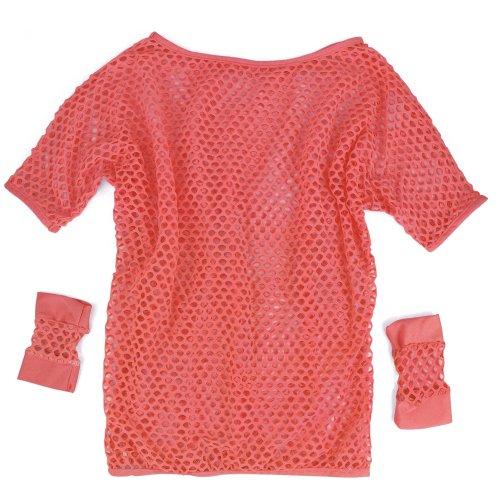 Tinxs Neon Pink Ladies 80s Fancy Dress Set - Standard