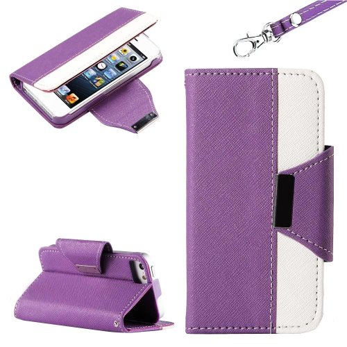 Mylife Violet Purple And White Style Design - Textured Koskin Faux Leather (Card And Id Holder + Magnetic Detachable Closing) Slim Wallet For Iphone 5/5S (5G) 5Th Generation Smartphone By Apple (External Rugged Synthetic Leather With Magnetic Clip + Inter