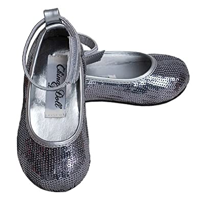 Toddler Girls Silver Sparkle Slip on Dress Special Occasion Shoes 8