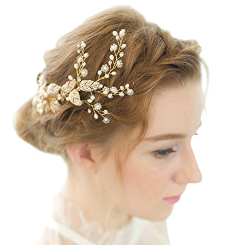 FAYBOX Vintage Gold Twig Crystal Pearl Side Combs Bridal Headpiece Wedding Accessories A (Bridal Head Comb compare prices)