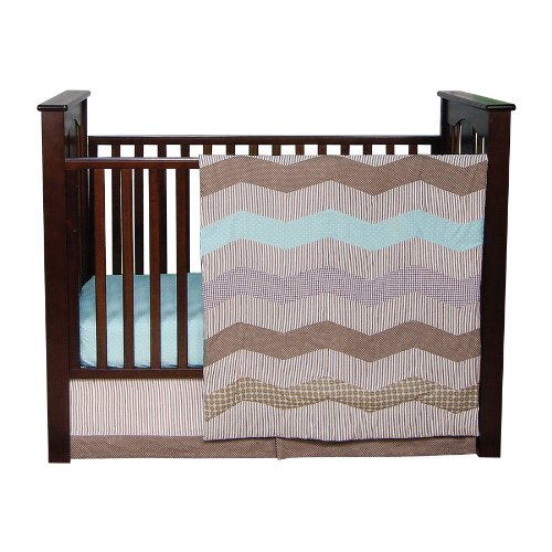 Buy Discount Trend Lab Cocoa Mint 3 Piece Crib Bedding Set, Taupe
