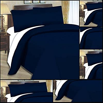 Adam Linens Luxury 4 PCS complete reversible duvet cover & fitted sheet bed set Double Size Navy Blue White