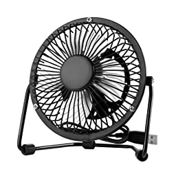Niceshop® 4 inch Quiet USB Mini Desktop Fan Plug and play USB Ventilator 360 Rotate Metal Mini Fan Portable Cooler Cooling Desktop Power PC Laptop Desk Fan with ON/OFF Switch (Black)