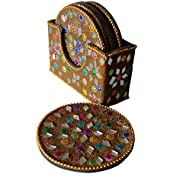 Beautifully Decorated Handmade Tea Coaster With 6 Plates - B01DRZT22Q