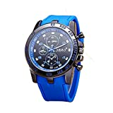 SBAO men s waterproof wristwatch silicone sports and leisure military watches BY EFLYNOVA - Black blue