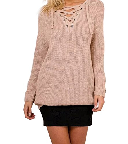 Cyber Monday YeeATZ Apricot Women Heart-Shaped Deep V Cross Bandage Front Lapel Sweater(Size,S)