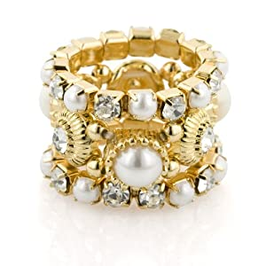 Gold Tone White Simulated Pearl Stretch Rings, 3 Piece Set