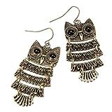 Fashion Retro Old Vintage Cute Owl Big Black Eyes Bronze Anh?nger Ohrringe baumeln