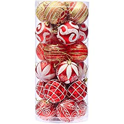"Sea Team 2.36""/60mm Decorative Shatterproof Painting & Glitering Designs Christmas Ornaments Christmas Balls Set with Embossed Finish Surface, 24-Pack, Red"