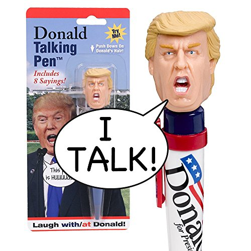 Donald Talking Pen - 8 Different Sayings - Trump's REAL VOICE - Just Click and Listen - Funny Gifts for Trump & Hillary Fans - Superior Audio Quality -Replaceable Batteries Included - Trump Pen (The Office Merchandise Bobblehead compare prices)