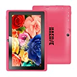 Haehne MiniPad 7 Inches Google Tablet PC, TN HD 1024*600P Capacitive Screen, Android 4.4 KitKat, Quad Core Allwinner A33 1GB RAM 8GB ROM 1.6GHz, Dual Cameras 0.3MP 2.0MP, WiFi, Bluetooth - Pink