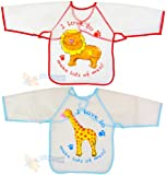 Kids Childs Arts Craft Painting Apron Baby Bib Messy Play Wipe Clean Coverall
