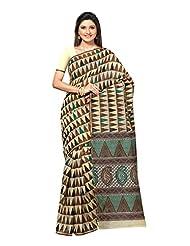 Fabdeal Beige & Brown Cotton Printed Saree Sari Sarees