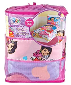 Amazon.com: Dora The Explorer 4 Piece Satin Toddler Bedding Set: Baby