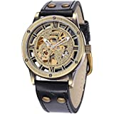 ShoppeWatch Mens Automatic Mechanical Watch Steampunk Skeleton Dial Leather Band AMW-161