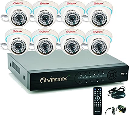 Ovitronix OVI-8CH-ANA-D8 8Channel Dvr, 8 (1000TVL ) Dome CCTV Camera