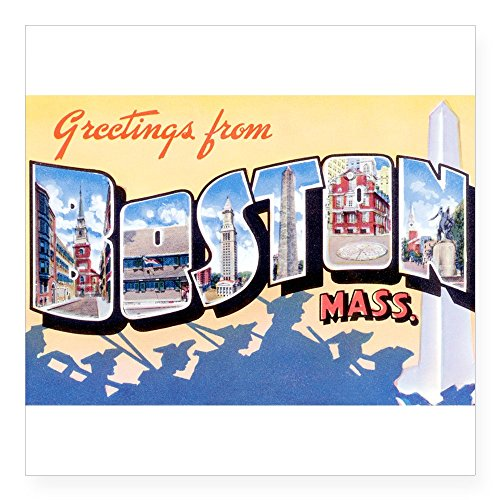 CafePress - Boston Massachusetts MA Rectangle Sticker - Square Bumper Sticker Car Decal, 3