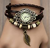 Woman Lady Men Hot Fashion Classic Leather Strap Roma Number Dial Quartz Watch WHS1 (Brown-6)