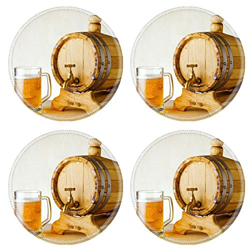 Liili Round Coasters (4 Piece) beer and barrel on the wood table IMAGE ID 10658440