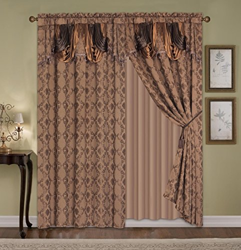 """Fancy Collection Luxury Curtain Jacquard 2 Panel With Attached Valance 120"""" X 84"""" + 18"""" (Brown)"""