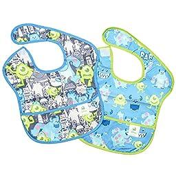 Bumkins Disney Baby Waterproof SuperBib 2 Pack, Monsters Inc. (Gray/Blue) (6-24 Months)
