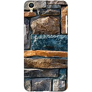 Casotec Decorative Stone Cladding Design 3D Printed Hard Back Case Cover for Oppo F1 Plus