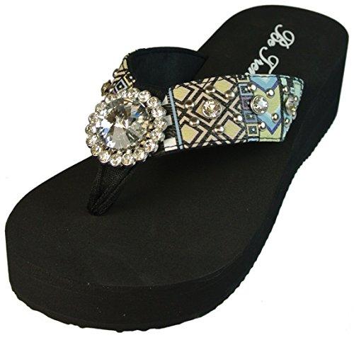 Texcyngoods Aztec Print Flip Flops Wedge Sandals Studs Rhinestones Blue Size 9 front-39747