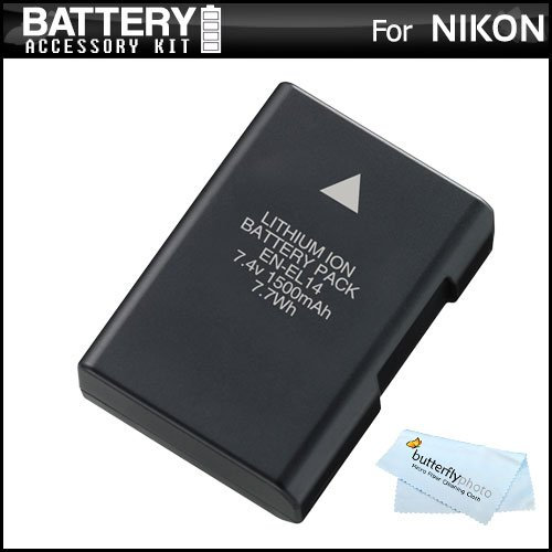 Replacement EN-EL14 Ultra High Capacity Li-ion Battery For Nikon D5100, D5200, D3100 and D3200, P7100, P7700, P7800 Digital Camera - Fully Decoded! (Nikon EN-EL14 Replacement) + ButterflyPhoto MicroFiber Cleaning Cloth