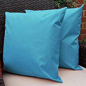 Waterproof Garden Cushions for Chairs - Cane Filled Cushions for Seats and Benches - Colourful Outdoor Cushion (6, Aqua) by Comfort Co®