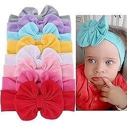 Baby Girl Soft Bow Turban Headband Top Knot Cotton Head Wrap Set Of 8 Colors