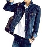 [RSWHYY] メンズ デニム テーラード ジャケット コート ジャケット アウター コート ジャンパー 春秋 長袖 ジージャン Gジャン ファッション大きいサイズ ライダース ヴィンテージ 細身 お出かけ ブルー C 2XL