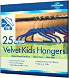 Closet Complete Kids Size Ultra Thin No Slip Velvet Hangers, Blue, Set of 25