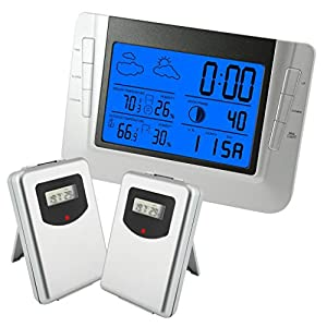 Gain Express Digital Wireless Indoor Outdoor Weather Station RCC Clock with 2 Sensors