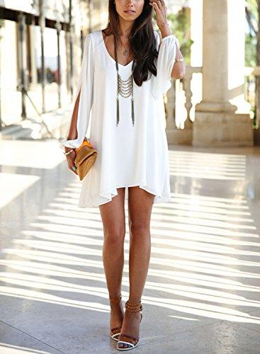 Viwenni Sexy Womens V-Neck Loose Irregular Hem Summer Chiffon Short Beach Dress- White- Large
