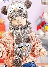 Bling2Bling Babies Owl Shape Wool Hat+Scarf Set+A Pair of Socks(in Random) (Coffee)