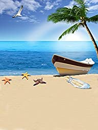 200cm*150cm Beach Backgrounds Summer Vacation By the Sea Vessels Photography Backdrops K-1397